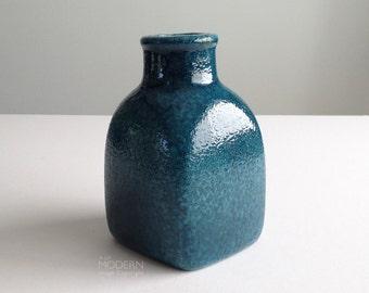 Vintage Baldelli Italy Blue Speckled Ceramic Canister Jar Vase