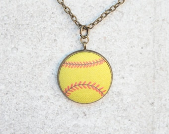 Softball, Fabric Button Pendant Necklace