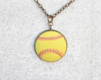 Softball, Fabric Button Pendant Necklace