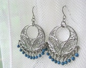 Silver Filigree Hoop Silver Tone Earrings with Blue Beads  - Free Shipping  By Ferry Creek Vintage