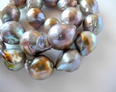 Freshwater Baroque Pearl Grey Gray Mauve Nucleated 17mm 23mm 1/4 Strand 5 Pearls