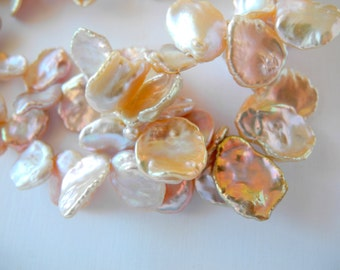 Freshwater Keishi Pearls Natural Mauve Pink Large 13mm  17mm Half Strand