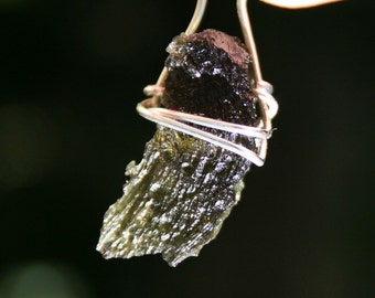 Moldavite Green Meteorite Wire Wrapped with Argentium Silver Stone Pendant