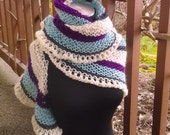 Hand Knit Shawl Stole Wrap Scarf in White/Purple/Gray/Blue