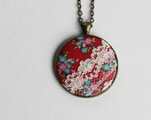 Boho Necklace, Bohemian, Colorful Retro Necklace, Unique Necklace for Women, Cute Jewelry, Hippie Wedding Red Pendant Floral Fabric Necklace