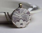 Ivory Lace Pendant, Cotton Anniversary Gift, Gray Bridesmaid Necklace, Ivory Wedding, Gray Wedding Lace Necklace, Unique Bridesmaid Jewelry