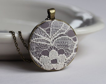 Ivory Lace Pendant, Cotton, Anniversary Gift, Gray Bridesmaid Necklace, Ivory Wedding, Gray Wedding Lace Necklace, Unique Bridesmaid Jewelry
