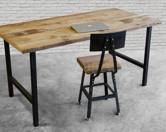 Reclaimed Wood Desk with steel H frame legs in choice of sizes or finishes