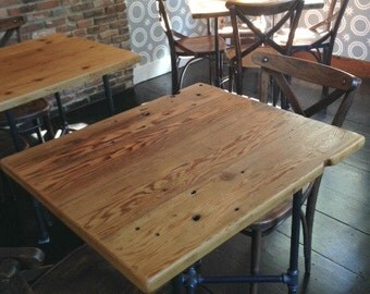 """Square table made of reclaimed wood, black pedestal base in your choice of size and finish, Pipe Leg Base Overall height 30""""."""