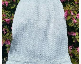 Handmade Heirloom Crochet Christening Gown and Bonnet.