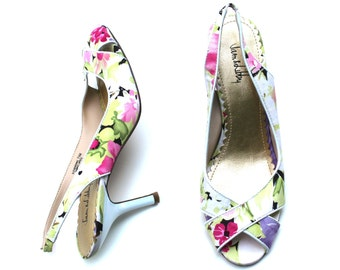 intage Sam & Libby Multicolored Fabric/Leather Floral Peep Toe Slingback Dress Shoes Sz 7.5