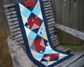Patriotic Table Runner Red White Blue Stars Presidents Day Quilted Handmade