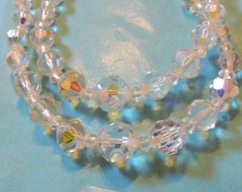 Crystal Necklace,Aurora Borealis Faceted Double Strand Wedding Vintage Jewelry