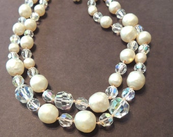 Vintage Crystal Necklace Faux Pearl Beaded Wedding Jewelry