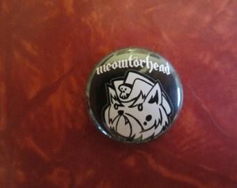 Meowtorhead button, Motorhead cat pin