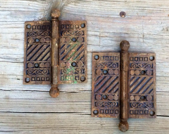 Antique Door Hinges Pair Vintage Eastlake Victorian Style Iron Hardware Set of 2