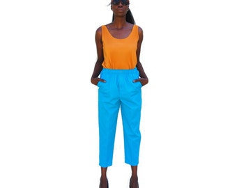 SALE!!!!!!!! Aqua sky blue high waist elastic waist sporty capris 1990s 90s VINTAGE