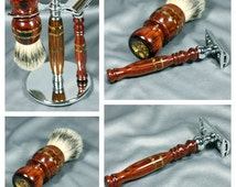 Cocobolo wood Men's shaving kit razor brush badger hair DE Double edge safety razor men's gifts groomsmen Personalized Gillette CUSTOM ORDER