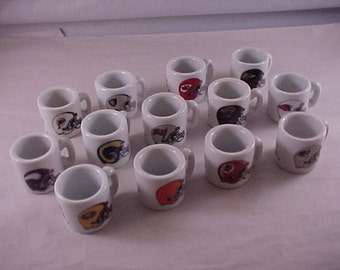 13 Miniature China Mugs NFL Football Teams