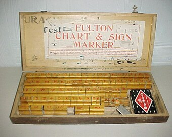 SALE Fulton Chart & Sign Marker Rubber Stamp Set in Wood Case.