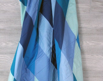 Geometric Baby Quilt, Boys quilt, girls quilt, Turquoise, blue, teal, Diamond quilt