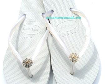 Havaiana Slim Flip Flops Bridal Wedding Swarovski Crystal Flower Gold or Silver all sizes