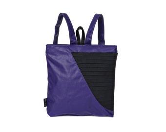 purple and black vegan backpack, medium size faux leather bag, Geometric design purse  Gabby