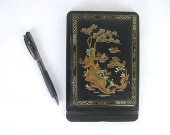 1940s black toleware notebook holder, Chinoiserie Landscape with pagoda, outdoor bonsai & lady on a bridge - sketchbook, journal, notepad