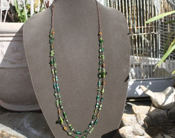 Green Multi Bronze Long Boho Style Necklace Rosary Chain by My Cozy Cottage Designs OOAK