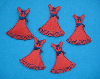 Clearance~ 5 pcs Iron-on Embroidered Applique Dress 1.75 inch