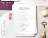 INVITATION SAMPLE The Valentine Suite - Wine and Gold Calligraphy Wedding Invitation - Heirloom Wedding Invitations by Sincerely, Jackie