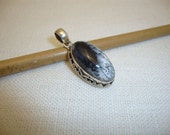 Vintage Women Pendant Solid Silver 925 Dendritic Opal Oval Cabochon (OK369)