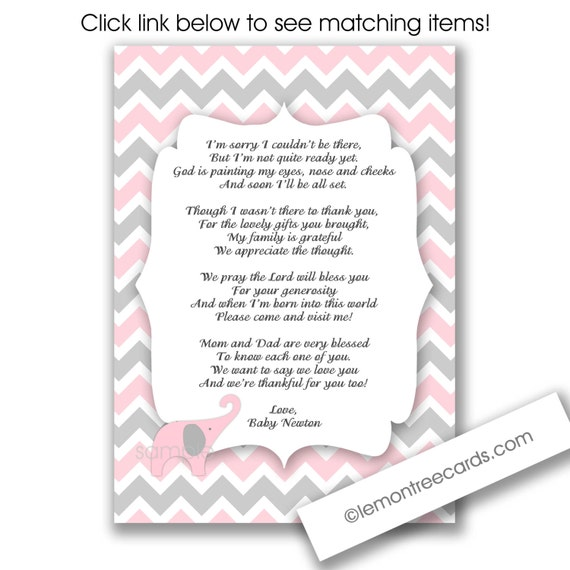 Girl Baby Shower Poems: Items Similar To Pink Elephant Shower Thank You Notes With