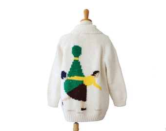 Vintage 60s Bowling Novelty Design Hand Knit Cardigan - Women Large, thick, handmade, retro