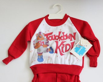 Vintage 80s Touchdown Kid Bear Sweatshirt and Matching Red Sweatpants - Kids 18 Months Childrens, deadstock NOS