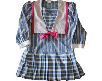Vintage 80s Blue and White Stripe Nautical Dress with Pink Ribbon - Kids 6X - Girls, Made in USA, KLL