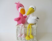 Flamingo and Stork toy knitting patterns