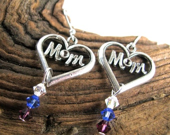 Personalized Mother's Day Earrings - Mom in Open Heart Birthstone Crystal Earrings