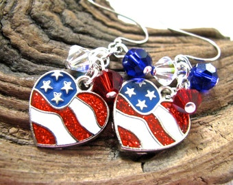 American Flag Heart Red, White, and Blue Crystal Cluster Long Dangly Fourth of July Earrings