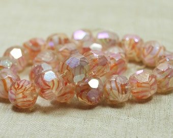 Strand of 25 Faceted German Glass Beads; Coral Stripes, Cloudy White with Luster Finish. VGL558