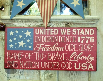 United We Stand,  Primitve Word Art Typography Pine Wall Sign