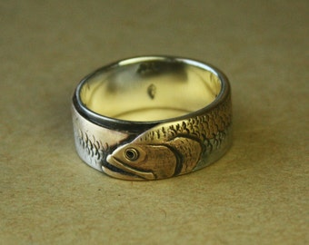 Mouth Bass. Example of Custom order ring for a man. One-of-a-kind design for him. Artisan & rustic. Custom text. Sterling silver and brass.