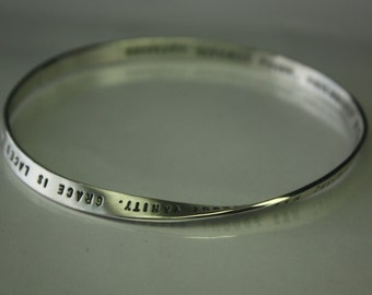 PERSONALIZED MOBIUS science meets art. 5mm x 1.25mm strip Hand stamped with any custom text up to 100 characters. Any size. Made to order.