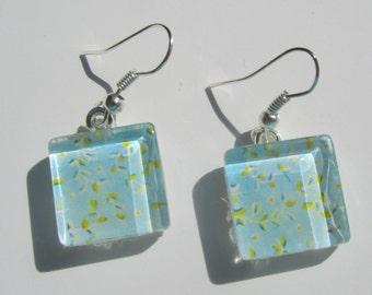 Blue Leaf Print Earrings, Blue Glass Dangle Earrings, Blue Summer Earrings