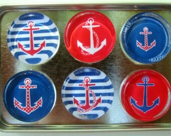 Anchor Refrigerator Magnets, Set of 6 Sailing Nautical Theme Anchor Fridge Magnets in Storage Tin