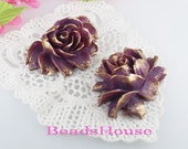 34-00-CA  2pcs Hight Quality Cabbage Rose with Golden Petals - Deep Purple