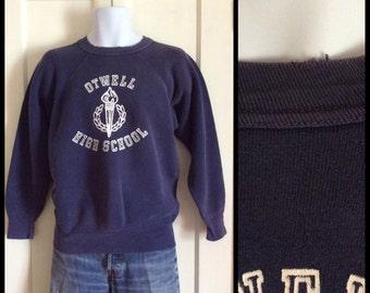 Vintage 1950s Otwell High School Logo Sweatshirt looks size Medium Navy Blue