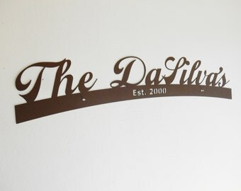 Last Name Sign / Wedding Gift / Metal Sign / Surname / Metal Wall Art / Door Topper/ Personalized