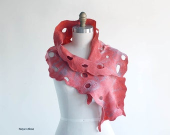 Romantic Hand felted and hand dyed light and airy scarf in red, rose, pink
