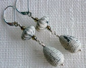 Earrings, Vintage Beads, Textured Lucite, Sterling Silver